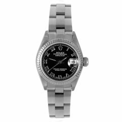 Rolex 69174 Ladies Datejust, Black Roman, Fluted Bezel and Oyster Band