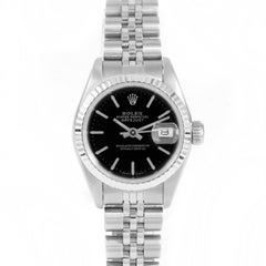 Rolex 69174 Ladies Datejust, Black Stick, Fluted Bezel and Jubilee Band