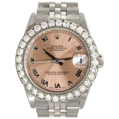 Rolex 78274 Datejust Salmon Dial and Diamond Bezel Ladies Watch