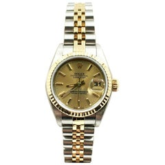 Rolex 79173 Ladies Datejust 18 Karat Yellow Gold and Stainless Steel Box Papers