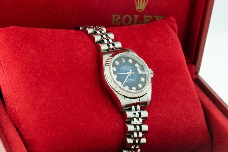 Rolex 79174 Datejust Steel Blue Vignette Diamond Box, Paper, Booklets For Sale 5