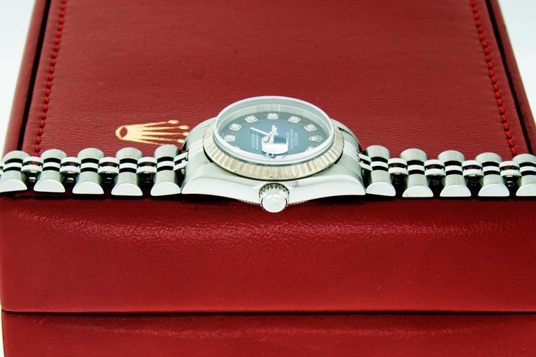 Rolex 79174 Datejust Steel Blue Vignette Diamond Box, Paper, Booklets For Sale 9