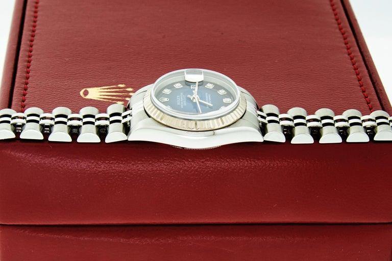 Rolex 79174 Datejust Steel Blue Vignette Diamond Box, Paper, Booklets For Sale 11