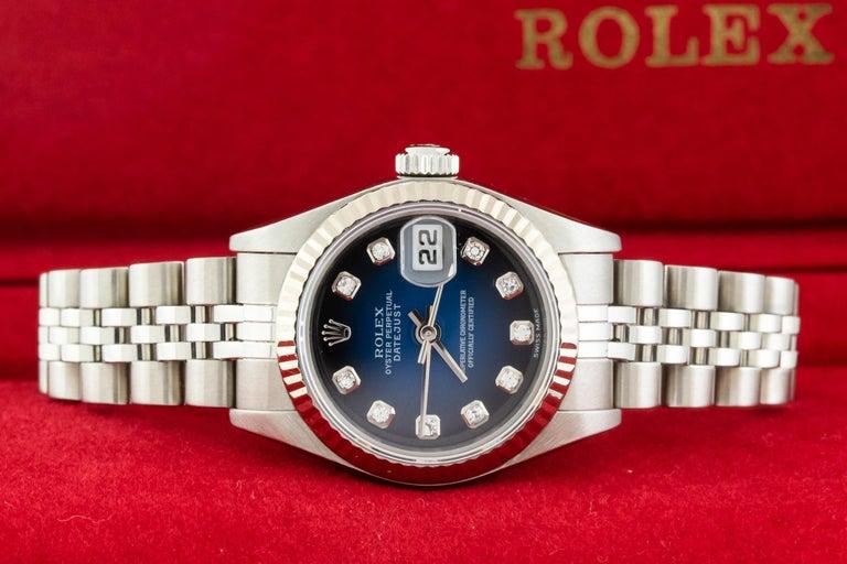 Rolex 79174 Datejust Steel Blue Vignette Diamond Box, Paper, Booklets For Sale 12