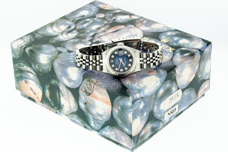 Rolex 79174 Datejust Steel Blue Vignette Diamond Box, Paper, Booklets For Sale 13