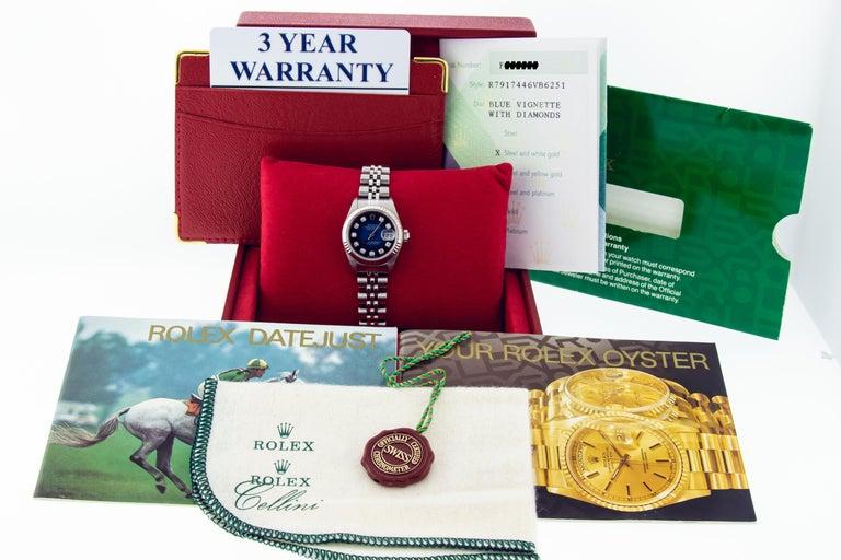Round Cut Rolex 79174 Datejust Steel Blue Vignette Diamond Box, Paper, Booklets For Sale
