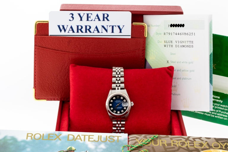 Rolex 79174 Datejust Steel Blue Vignette Diamond Box, Paper, Booklets In Excellent Condition For Sale In Los Angeles, CA
