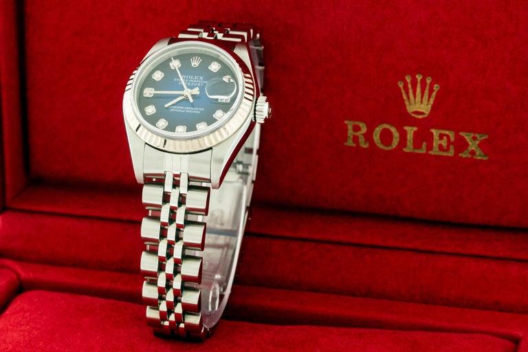 Rolex 79174 Datejust Steel Blue Vignette Diamond Box, Paper, Booklets For Sale 3