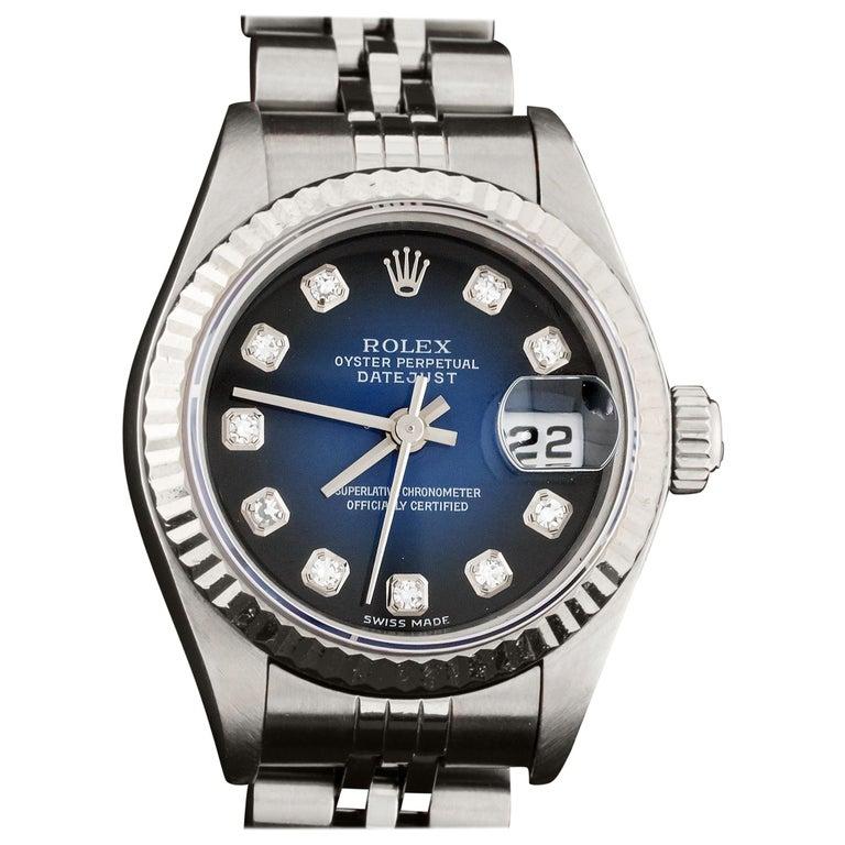 Rolex 79174 Datejust Steel Blue Vignette Diamond Box, Paper, Booklets For Sale