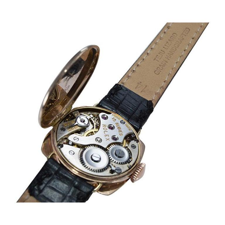 Rolex 9 Carat Gold Ladies Wristwatch circa 1915 with Original Unrestored Dial For Sale 7