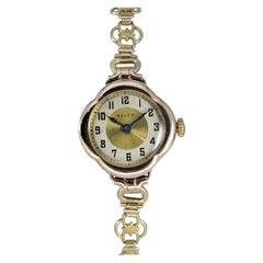 Rolex 9 Carat Gold U.K. Ladies Watch with Original Fitted Bracelet, circa 1920s