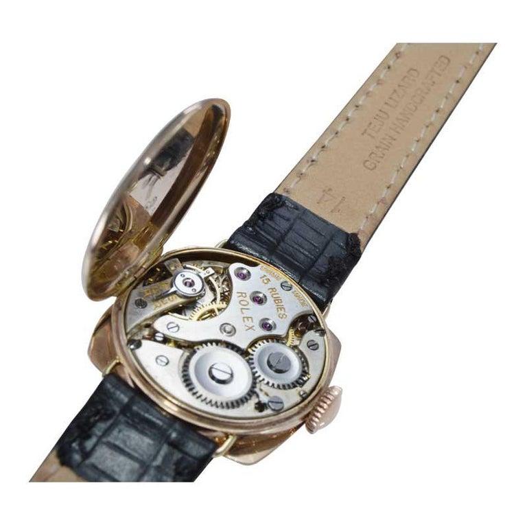 Rolex 9 Carat Gold Ladies Wristwatch circa 1915 with Original Unrestored Dial For Sale 6