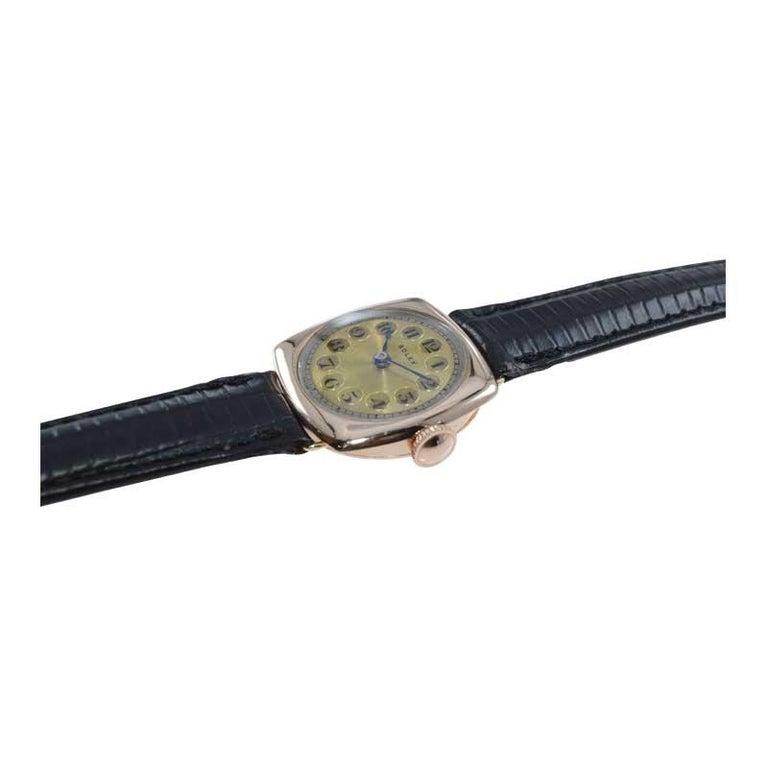Rolex 9 Carat Gold Ladies Wristwatch circa 1915 with Original Unrestored Dial For Sale 1