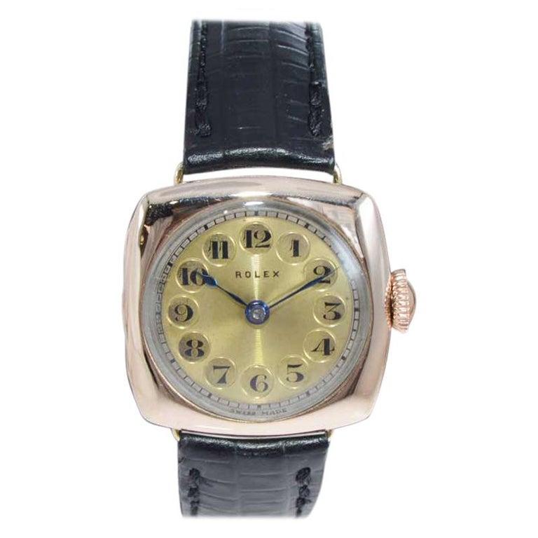 Rolex 9 Carat Gold Ladies Wristwatch circa 1915 with Original Unrestored Dial For Sale