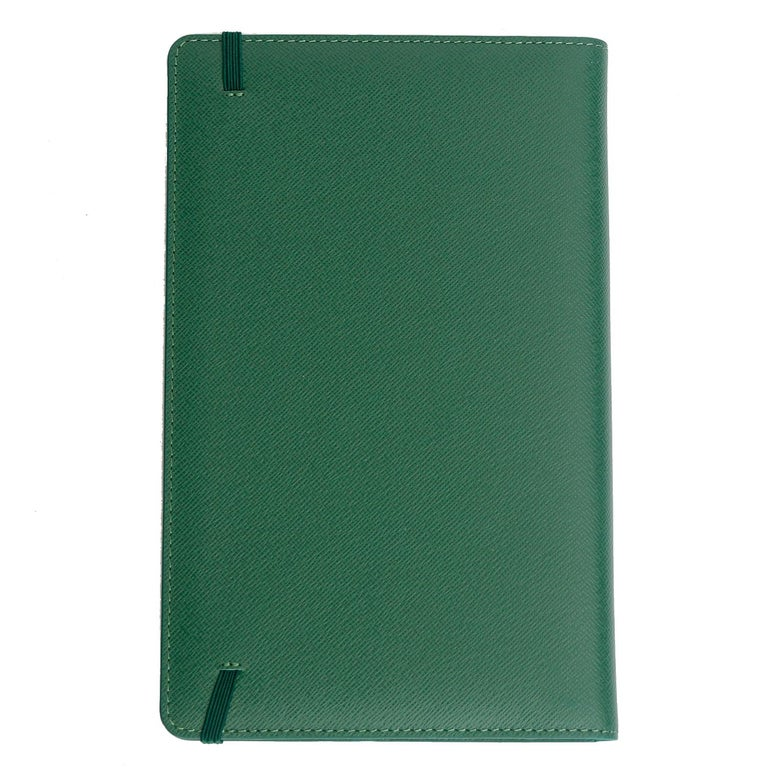 Rolex Agenda with Green Leather Cover  - Green Saffiano leather Rolex agenda cover with tonal stitching throughout, 2 small slit pockets, embossed brand stamp at cover and elasticized closure at edge. Includes hardcover notebook insert. Length 8.8