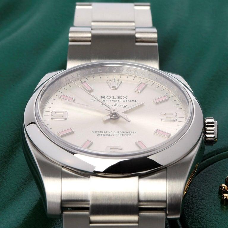 Rolex Air-King 114200 Unisex Stainless Steel Watch In Excellent Condition For Sale In Bishops Stortford, Hertfordshire