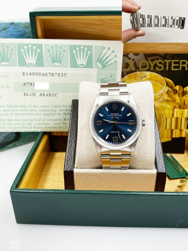 Rolex Air King 14000 Blue Dial Stainless Steel Box Papers In Excellent Condition For Sale In San Diego, CA
