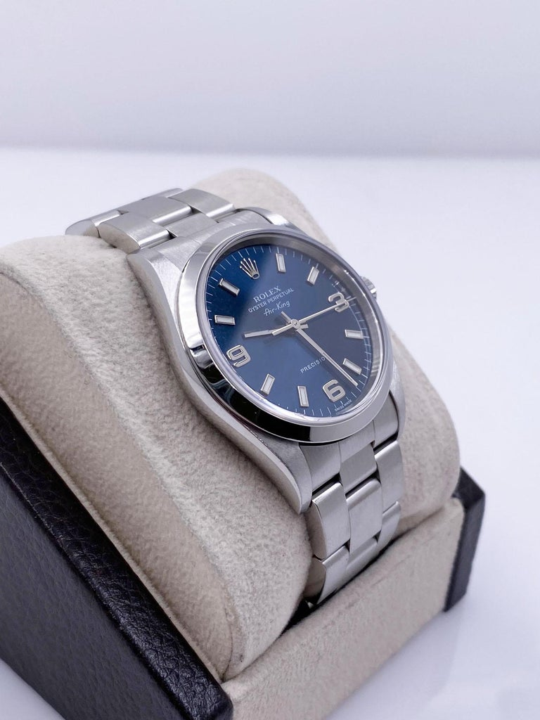 Rolex Air King 14000 Blue Dial Stainless Steel Box Papers For Sale 1