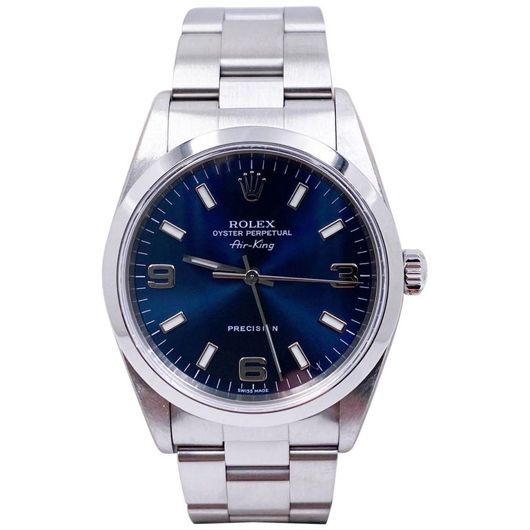 Rolex Air King 14000 Blue Dial Stainless Steel Box Papers For Sale