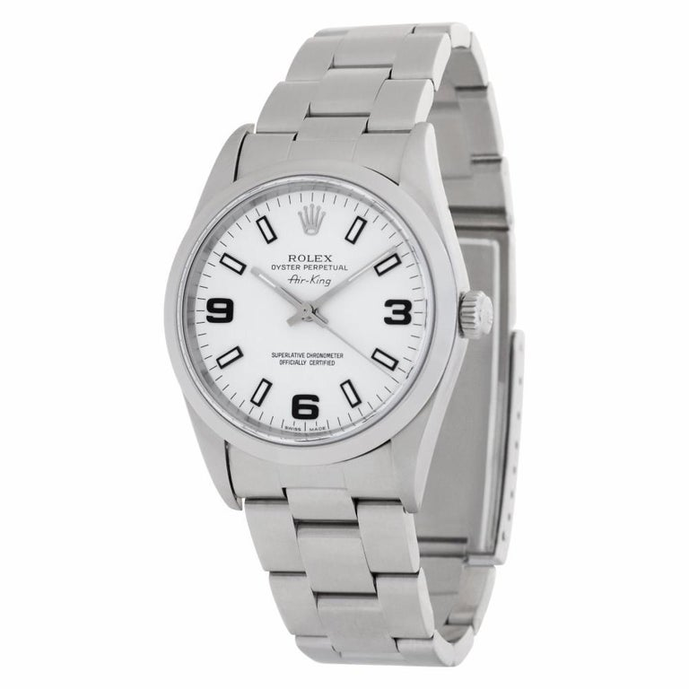 Modern Rolex Air King 14000 Stainless Steel Auto Watch For Sale
