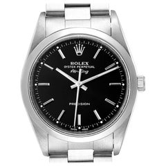 Rolex Air King 34 Black Dial Domed Bezel Steel Men's Watch 14000