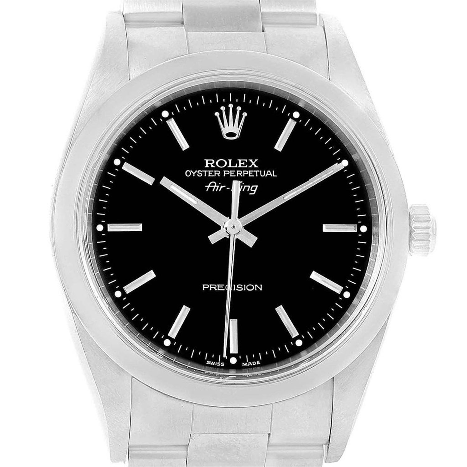 8893ebe9f9ce8 Rolex Air King 34 Black Dial Stainless Steel Men s Watch 14000 Box at  1stdibs