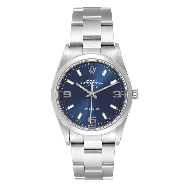 Rolex Air King 34 Blue Baton Dial Domed Bezel Steel Mens Watch 14000. Automatic self-winding movement. Stainless steel case 34 mm in diameter. Rolex logo on a crown. Stainless steel smooth domed bezel. Scratch resistant sapphire crystal. Blue dial