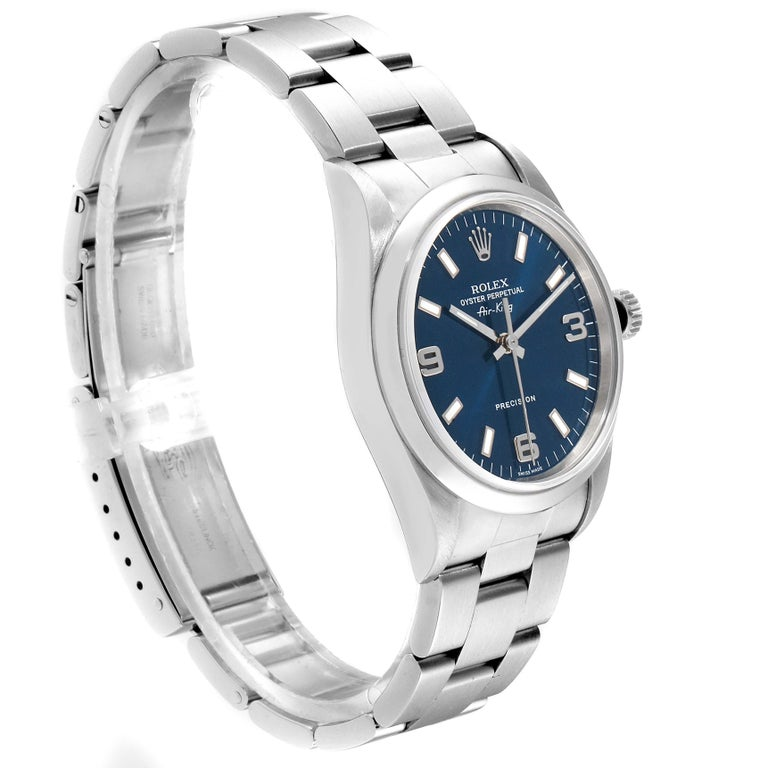 Rolex Air King 34 Blue Baton Dial Domed Bezel Steel Men's Watch 14000 In Excellent Condition For Sale In Atlanta, GA