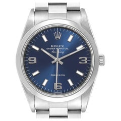 Rolex Air King 34 Blue Baton Dial Domed Bezel Steel Men's Watch 14000