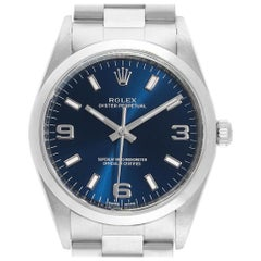 Rolex Air King 34 Blue Dial Domed Bezel Men's Watch 114200