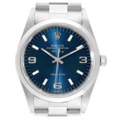 Rolex Air King 34 Domed Bezel Blue Dial Steel Men's Watch 14000