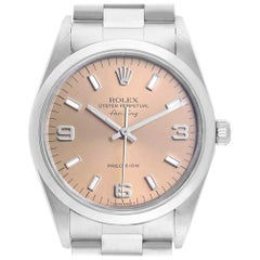 Rolex Air King 34 Salmon Dial Smooth Bezel Steel Unisex Watch 14000