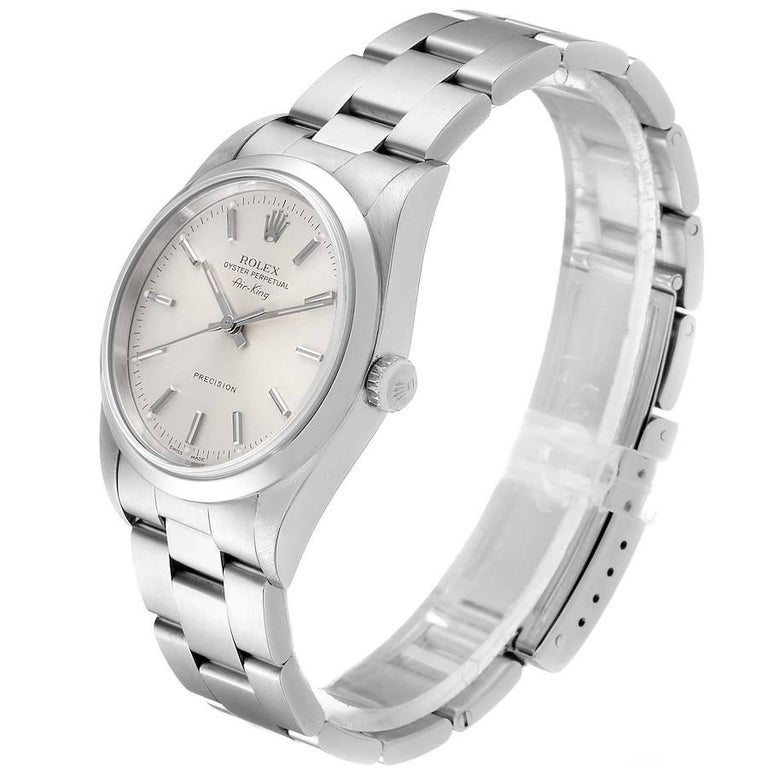 Rolex Air King Silver Dial Smooth Bezel Steel Men's Watch 14000 For Sale 1