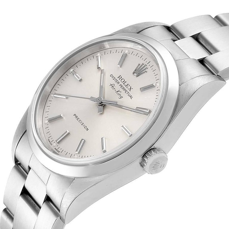 Rolex Air King Silver Dial Smooth Bezel Steel Men's Watch 14000 For Sale 2