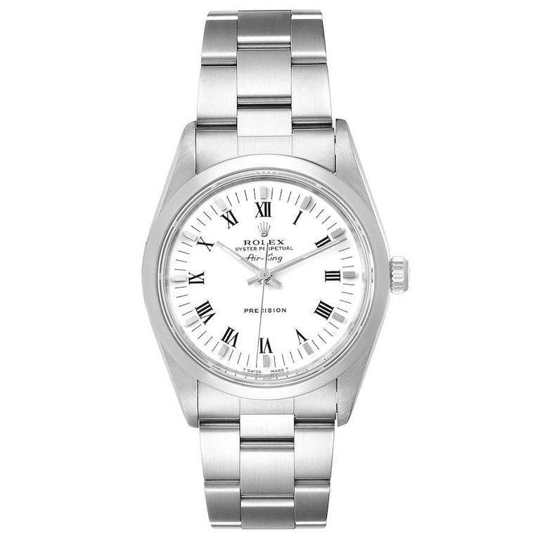 Rolex Air King 34mm White Dial Domed Bezel Mens Watch 14000 Box. Officially certified chronometer self-winding movement. Stainless steel case 34 mm in diameter. Rolex logo on a crown. Stainless steel smooth domed bezel. Scratch resistant sapphire