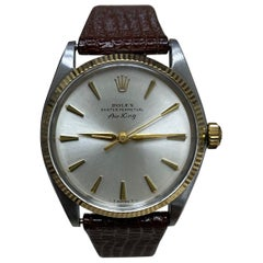 Rolex Air King 5501 14 Karat Yellow Gold Stainless Steel Leather Strap