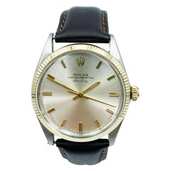 Rolex Air King 5501 Silver Dial 14 Karat Yellow Gold Stainless Steel
