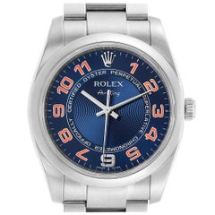 Rolex Air King Blue Concentric Dial Steel Men's Watch 114200