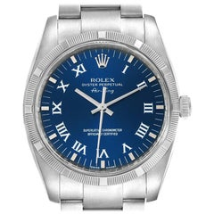 Rolex Air King Blue Roman Dial Steel Men's Watch 114210 Box