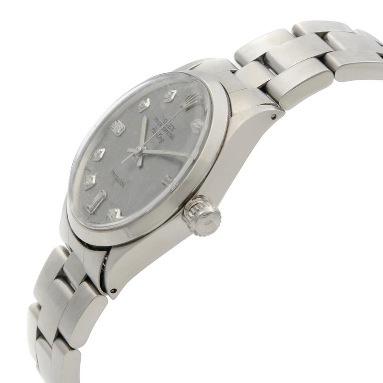 Rolex Air King Custom Gray Meteorite Diamond Dial Steel Men's 1969 Watch 5500 For Sale 1