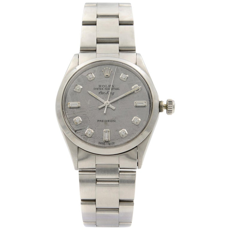 Rolex Air King Custom Gray Meteorite Diamond Dial Steel Men's 1969 Watch 5500 For Sale