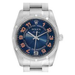 Rolex Air King Gators Blue Concentric Dial Steel Men's Watch 114210