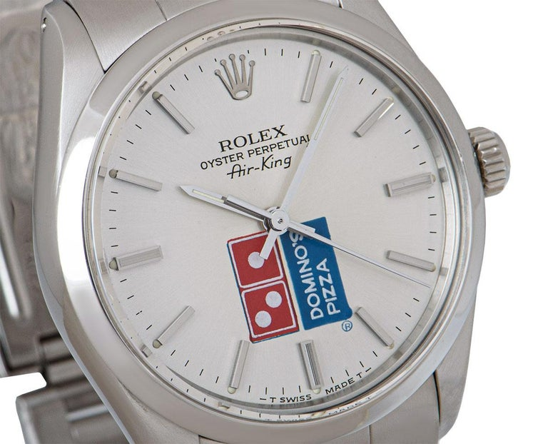Rolex Air-King Gents Stainless Steel Silver Dominos Pizza Dial 5500 In Excellent Condition For Sale In London, GB