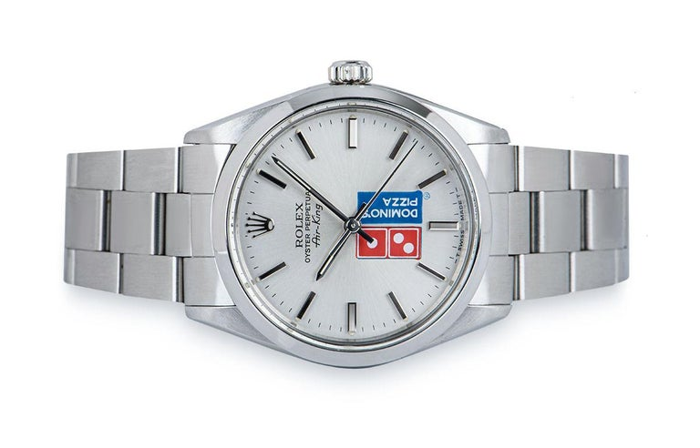 Women's or Men's Rolex Air-King Gents Stainless Steel Silver Dominos Pizza Dial 5500 For Sale