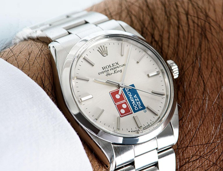 Rolex Air-King Gents Stainless Steel Silver Dominos Pizza Dial 5500 For Sale 3