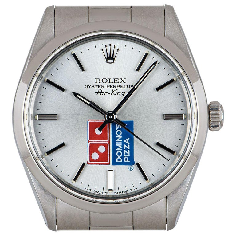 Rolex Air-King Gents Stainless Steel Silver Dominos Pizza Dial 5500 For Sale