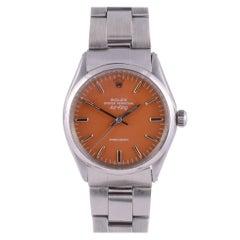 Rolex Air King Orange Dial Wrist Watch