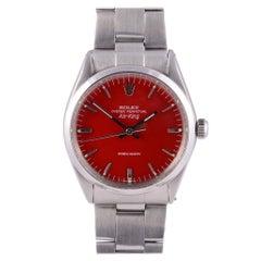 Rolex Air King Red Dial Steel Wrist Watch
