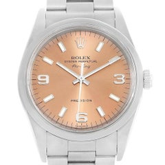 Rolex Air King Salmon Dial Smooth Domed Steel Watch 14000