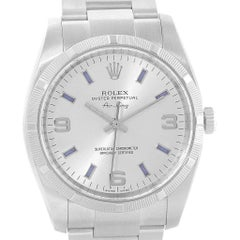 Rolex Air King Silver Dial Blue Markers Steel Men's Watch 114210
